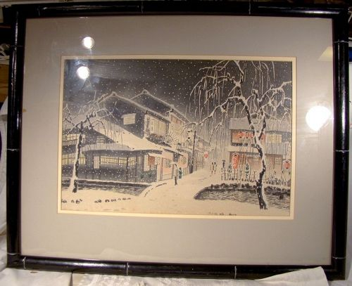 Eiichi Kotozuka Evening Snow At Kiyamachi 1950s Framed Woodblock Japan