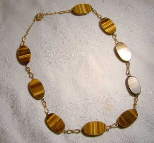 Edwardian Tiger Eye Discs Gilt Brass Necklace 1910 1920