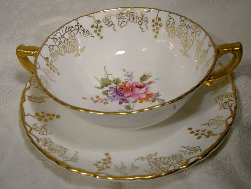 Royal Crown Derby Vine Posie Center Cream Soup Cup and Saucer A929