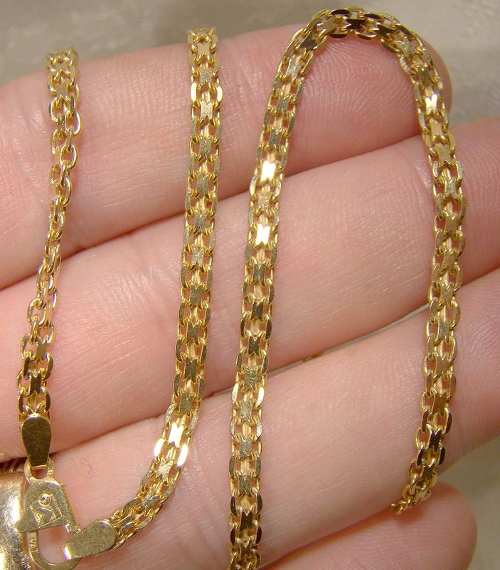 18K Yellow Gold Bismark Style Flat Link Chain Necklace - 11.4 Grams