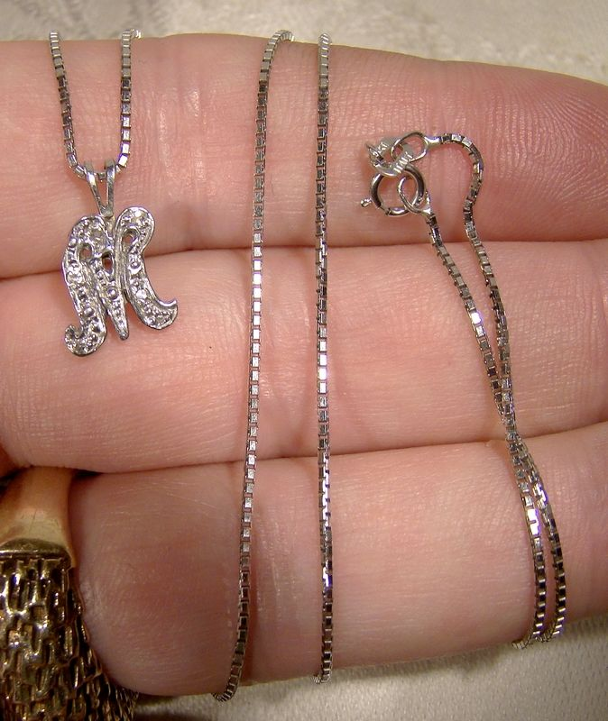 14K White Gold M Initial Pendant with Diamonds on Chain Necklace