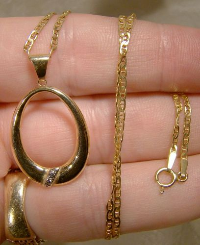 10k White and Yellow Gold Loop Pendant on 14K Chain Necklace