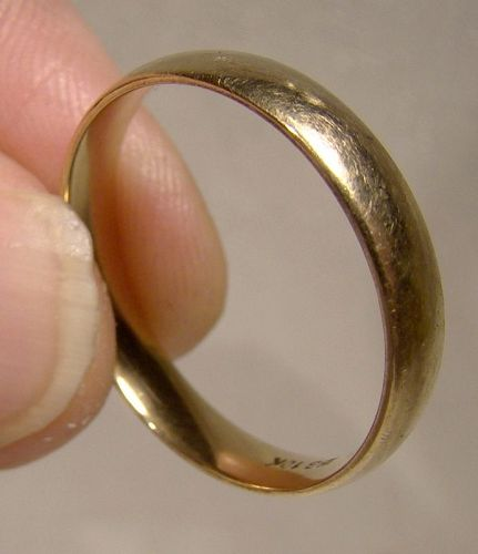 Simple 10K Yellow Gold Man's Wedding Band Ring 1960s 1970s