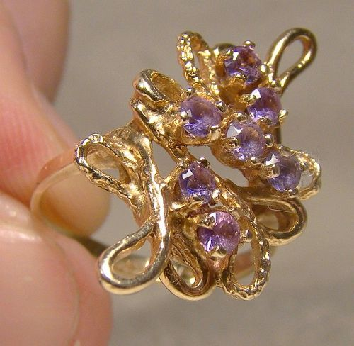 10K Yellow Gold Abstract Modern Purple Topaz Ring 1970s - Size 5-1/2