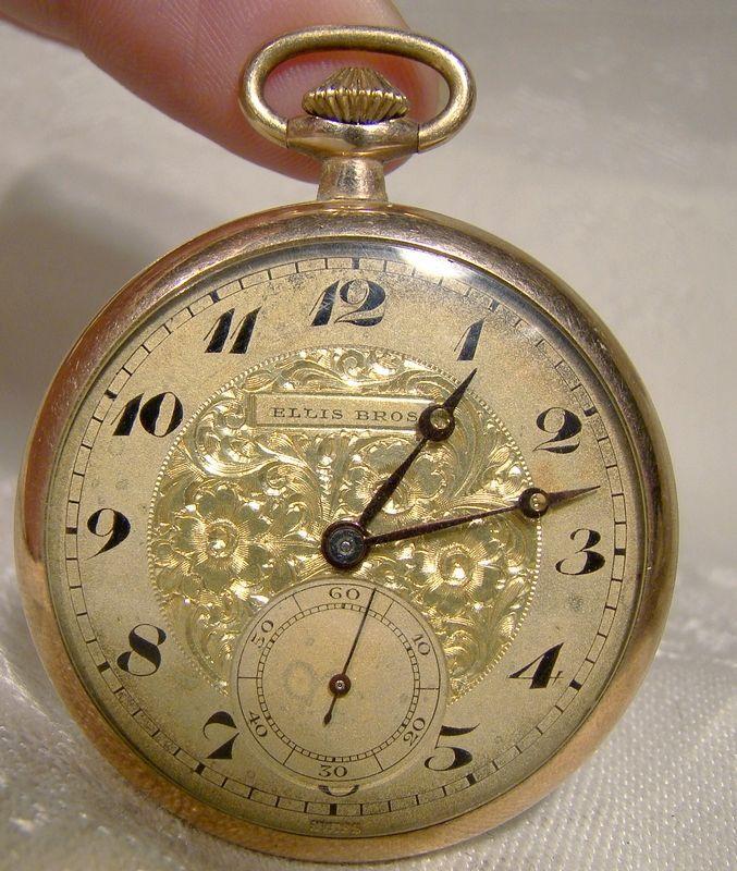 Ellis Bros. Gold Filled Fancy Pocket Watch with 15J Cyma 777 Four Adj.