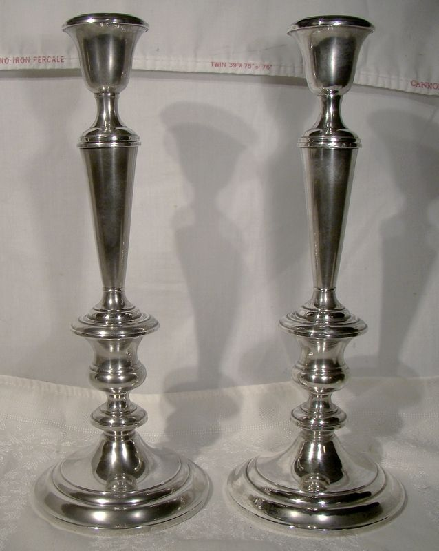 "Pair Gorham 1190 Sterling Silver 11-1/4"" Convertible Candlesticks 3Pcs"