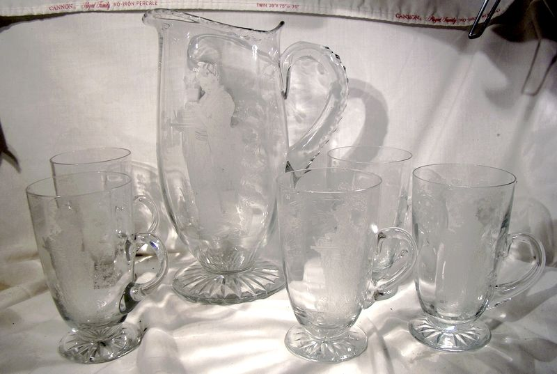 Fry Geisha Etched Glass Lemonade Pitcher plus 5 Handled Tumblers