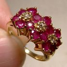 14K Yellow Gold Ruby Triple Flower Head Ring with Diamonds 1980s
