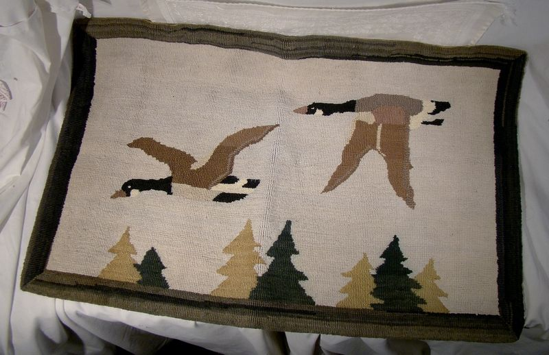 """Grenfell Flying Canada Geese 23"""" x 15"""" Hooked Mat Wall Hanging"""