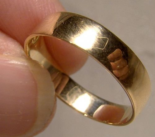 18K Yellow Gold Wedding Band Ring 1890s - Size 7