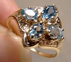 10K Yellow Gold Edwardian Blue Topaz Ring - Size 5-1/2