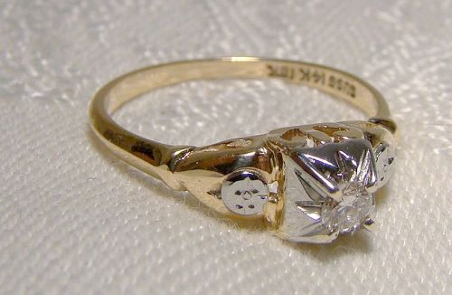 14K & 18K Art Deco Diamond Ring 1920s-30s - Size 6-1/4