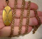 Victorian Gold Filled Seed Pearls Photo Locket with Long Watch Chain