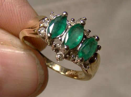 10K Yellow Gold Marquise Emeralds and Diamonds Ring 1970s - Size 6