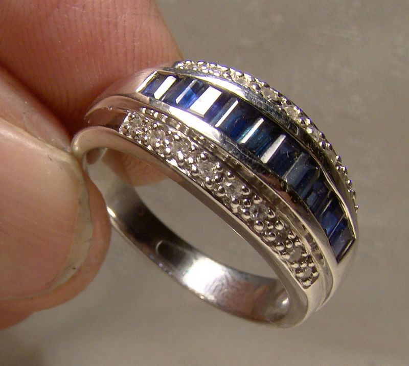 14K White Gold Channel Set Sapphires and Diamonds Ring - Size 8-1/4