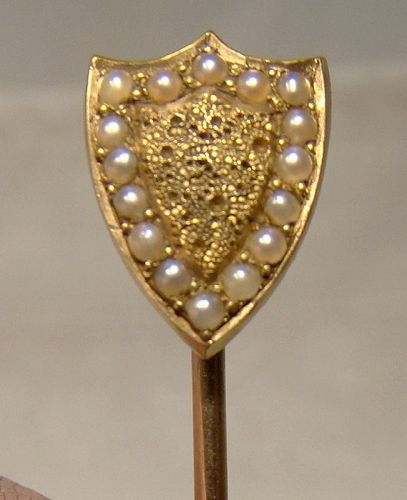 Victorian 18K Yellow Gold Shield Seed Pearls Stickpin