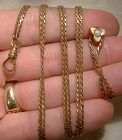 Edwardian Gold Filled Long Watch Chain with 14K Opal Slide 1900-10