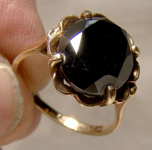 10K Yellow Gold Black Alaskan Diamond Ring 1970s - Size 6-1/2