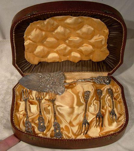Antiko Hildesheimer Rose 800 Silver Dessert or Cake Set in Fitted Case
