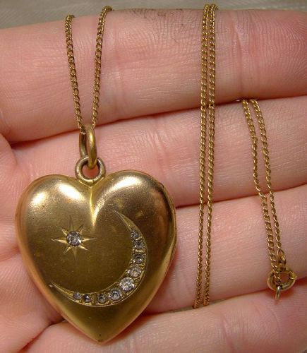 Gold Filled Moon and Star Rhinestone Heart Photo Locket on Chain