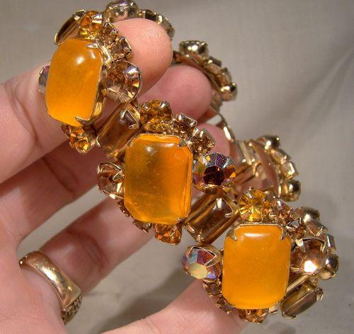 Coro Orange Lucite Cabochons and Aurora Borealis Rhinestones Bracelet