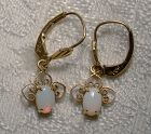 Pair 14K Yellow Gold Opal Wirework Dangle Earrings 1960s-70s