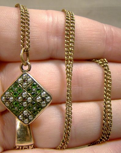 Victorian Edwardian Green Tourmaline, Red Spinel and Pearls Pendant