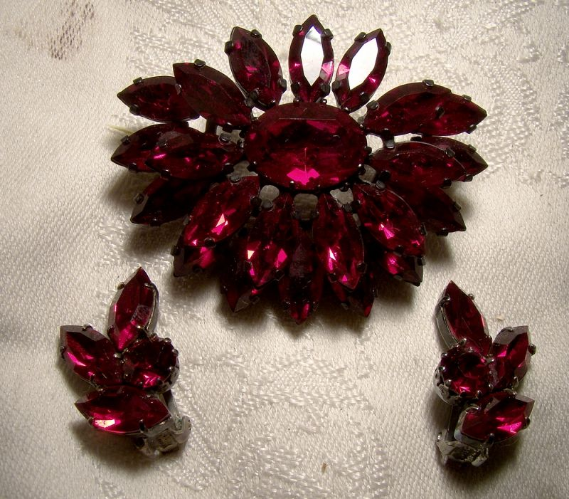 Austrian Deep Red Crystal Layered Flower Brooch Pin and Earrings Set