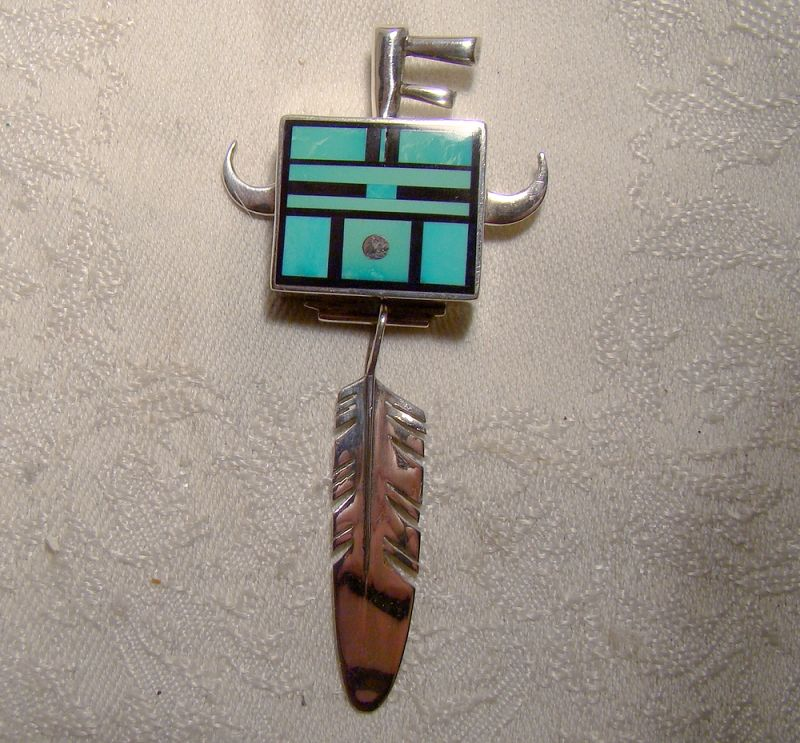 Ray Tracey Navajo Inlaid Turquoise Sterling Silver Pendant w/ Feather