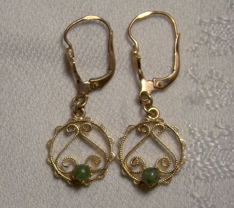 10K Rose Gold Jade Dangle Wirework Lever Back Earrings 1950s