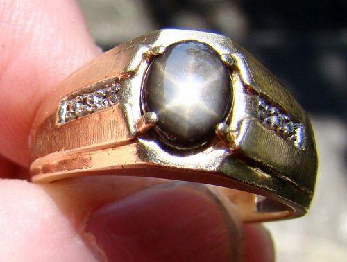 10K Yellow Gold Black Star Sapphire Man's Ring with Diamonds