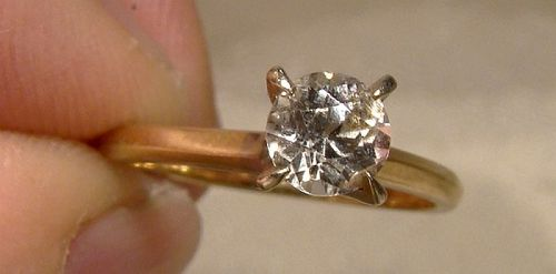 14K White Sapphire Solitaire Engagement Ring 1950s-60s - Size 5