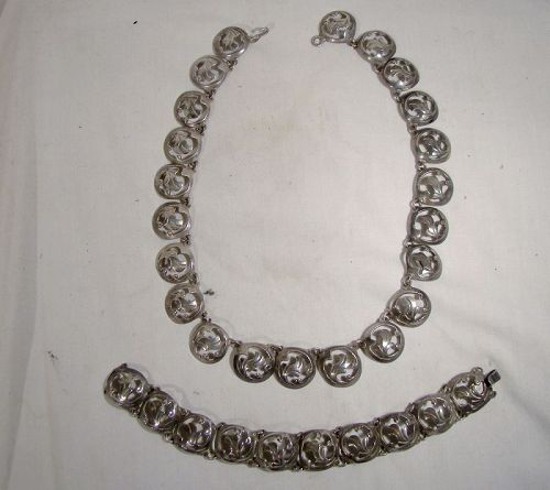 Mexican Sterling Silver Necklace and Bracelet Set 1930s
