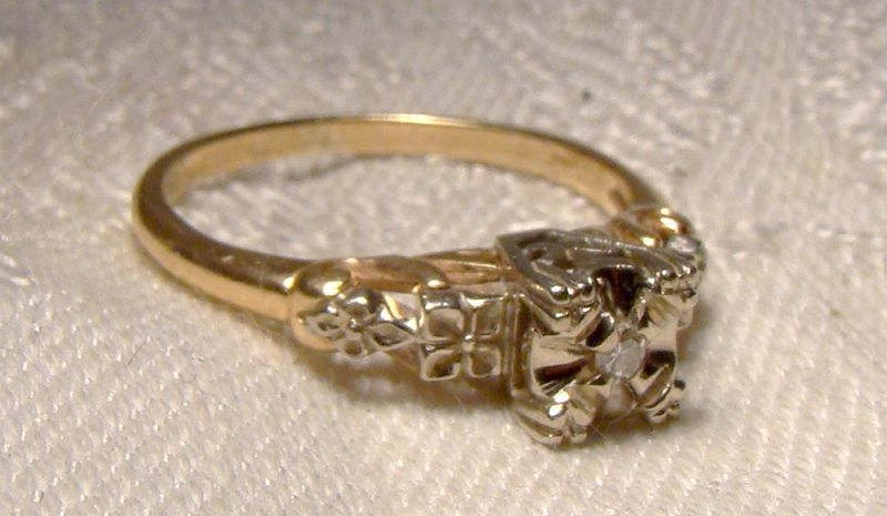 14K Diamond Engagement or Wedding Ring 1930s - Size 6
