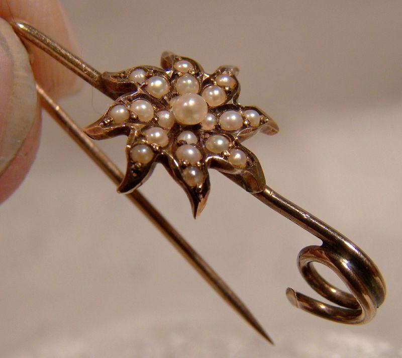 Victorian 14K Rose Gold Seed Pearls Flower or Starburst Bar Brooch Pin