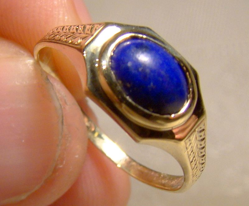 10K Yellow Gold Lapis Lazuli Cabochon Ring 1910-20 - Size 7