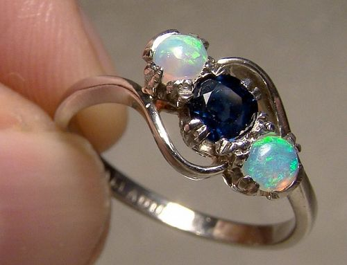Palladium Blue Sapphire and Two Opals Ring 1910-20 - Size 7-1/4