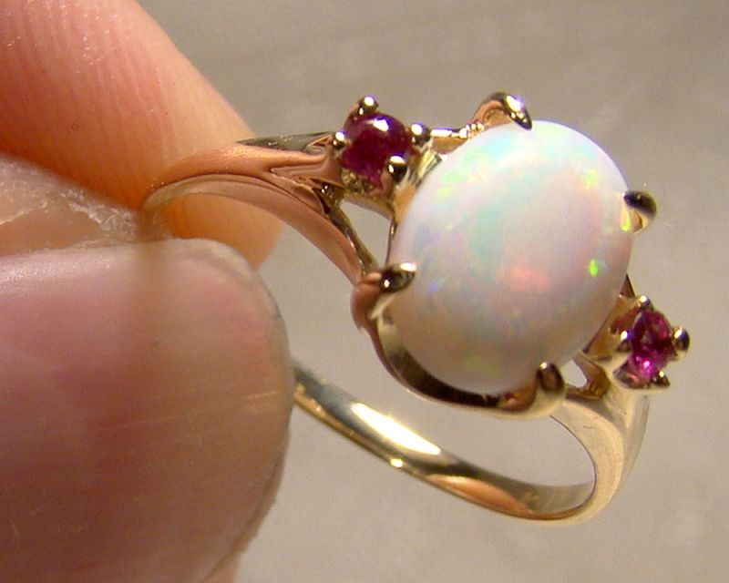 14K Yellow Gold Opal and Red Spinels Ring 1960s - Size 6-1/2