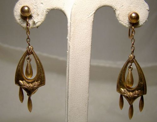 Victorian Rolled Gold Plate Dangle Drop Earrings 1890s