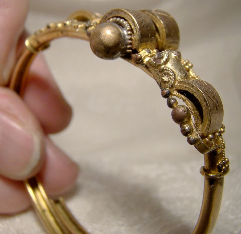 Ornate Victorian Rolled Gold Plate Aesthetic Clamper Bangle Bracelet