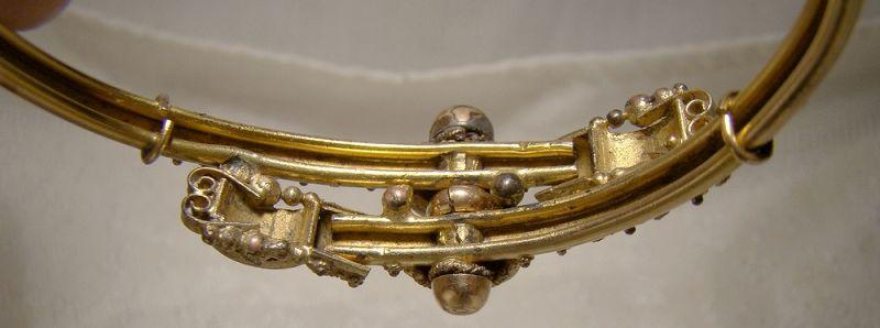 Ornate Victorian Rolled Gold Plate Aesthetic Clamper Bangle Bracelet