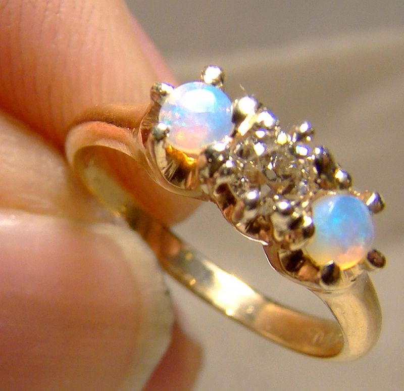 14K Diamond and Two Opals Row Ring 1890 1900 Yellow Gold Size 3-3/4