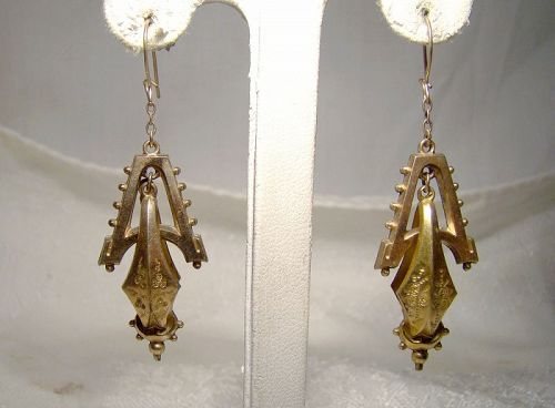 Victorian Aesthetic Rolled Gold Plated Dangle Swinging Drop Earrings