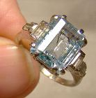 10K White Gold Green and Clear Spinels Ring 1970s - Size 6