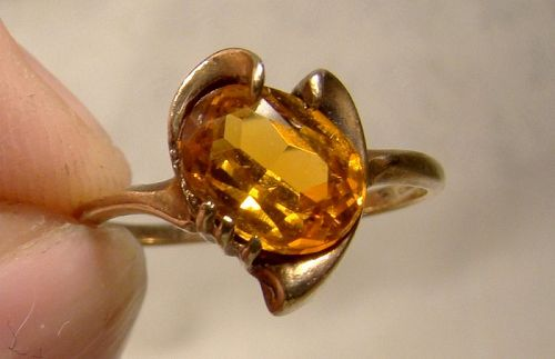 10K Yellow Gold Deep Yellow Sapphire Ring 1950s - Size 5-1/2