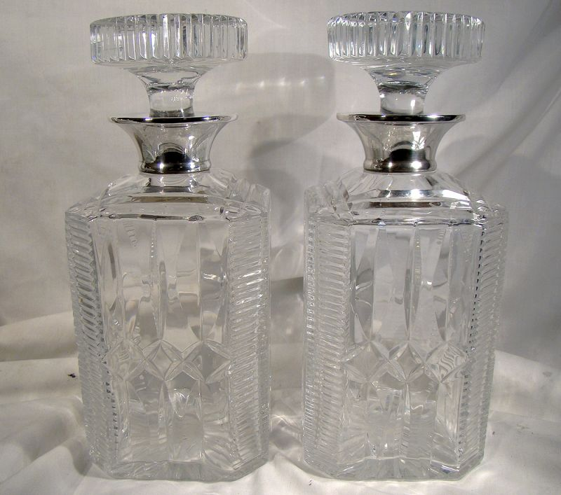 Pair English Heavy Crystal Sterl. Silver Topped Liquor Decanters 1963