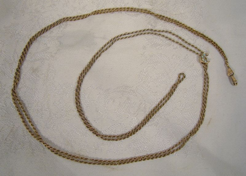 Victorian Gold Filled Rope Twist Watch Chain with 10K Opals Slide 1890
