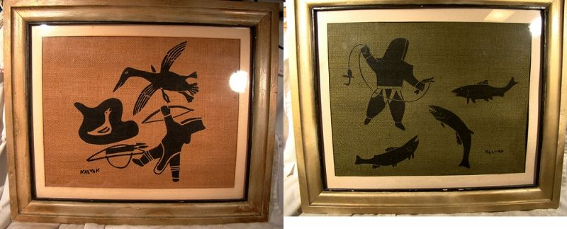 Pair Helen Kalvak Inuit Screened Burlap Hunting Scene Pictures