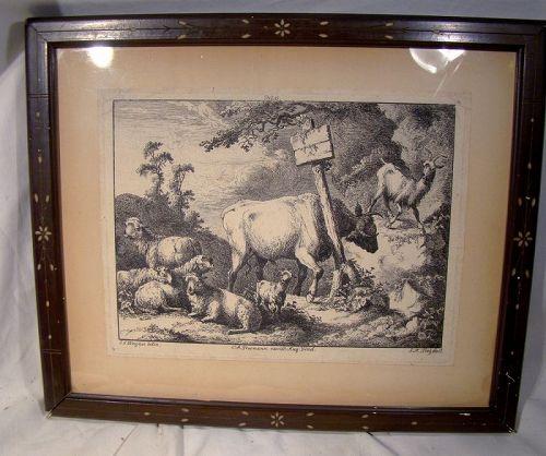 18thC Joseph Wagner (1706 – 1780) Framed Alpine Goats Engraving
