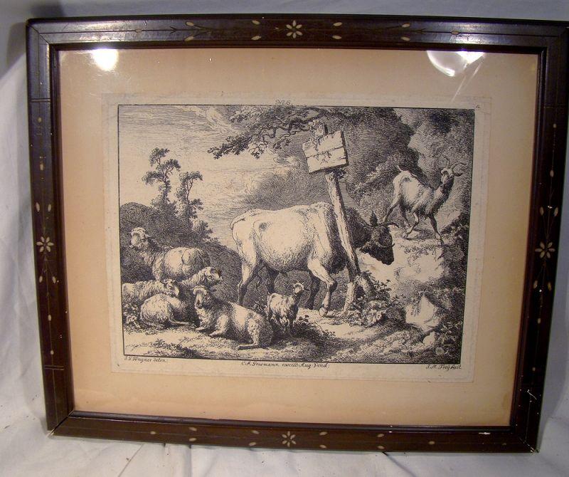 18thC Joseph Wagner (1706 � 1780) Framed Alpine Goats Engraving